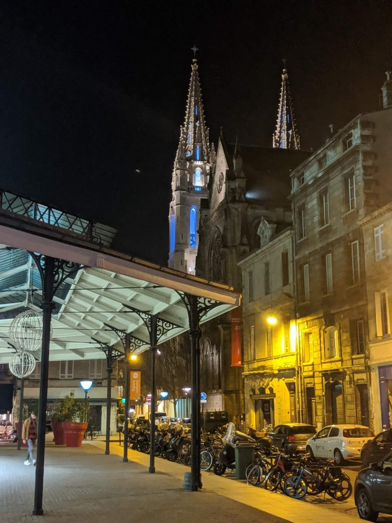 Bordeaux Self-guided Walking Itinerary- Halle de Chartron, Eglise St. Louis de Chartrons in background