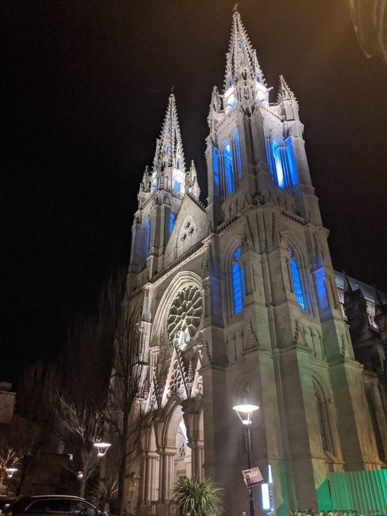 Bordeaux Self-guided Walking Itinerary- Eglise St. Louis de Chartrons at night